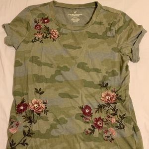 American Eagle Outfitters Camo & Embroidered Tee